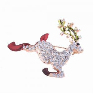 Fashion Design Christmas Lovely Fawn Alloy Brooch with Rhinestones Charm Jewelry -