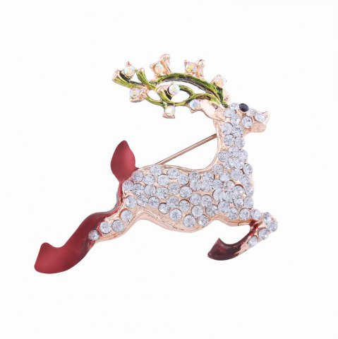 Buy Fashion Design Christmas Lovely Fawn Alloy Brooch with Rhinestones Charm Jewelry