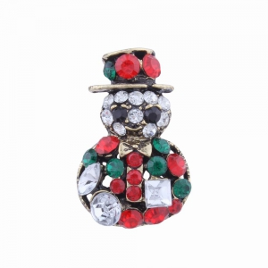 2 pcs Fashion Design Snowman and Christmas Flower Wreath Couples Brooch Set with Rhinestones -