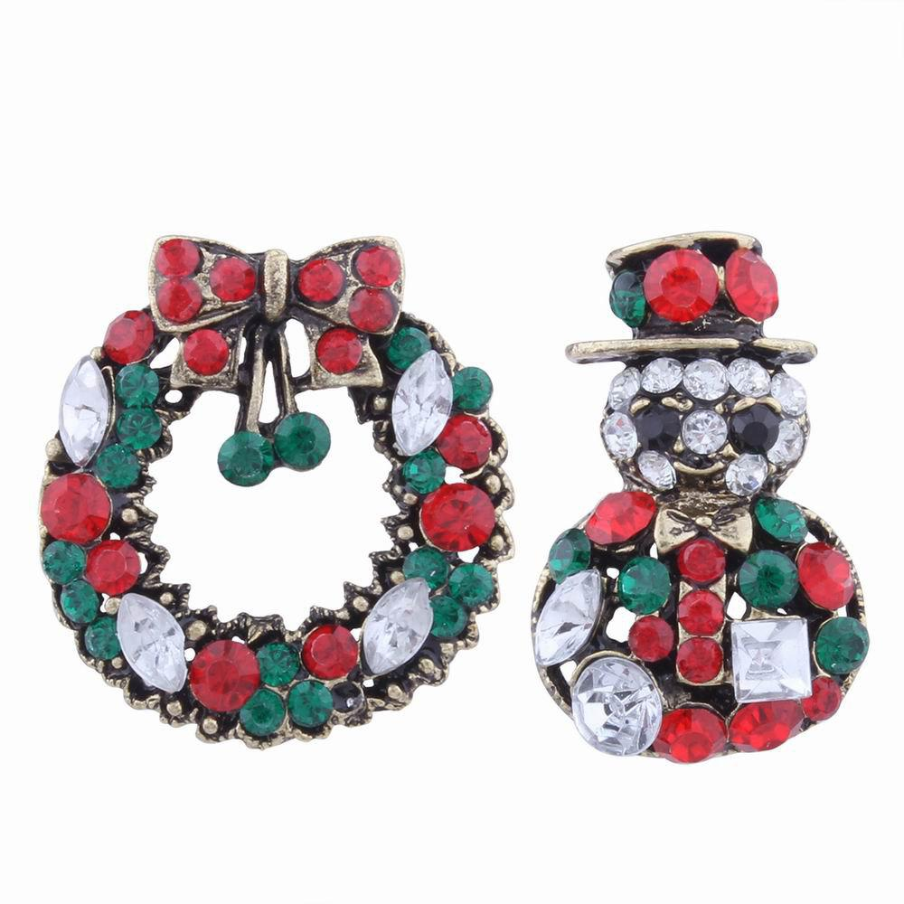 Trendy 2 pcs Fashion Design Snowman and Christmas Flower Wreath Couples Brooch Set with Rhinestones