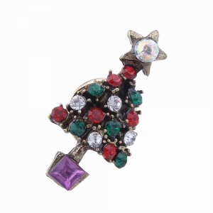 2pcs Fashion Design Santa Claus and Christmas Tree  Brooch with Rhinestones Charm Jewelry -