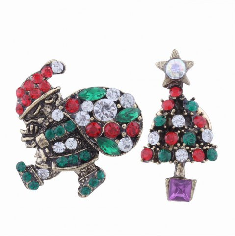 2pcs Fashion Design Santa Claus and Christmas Tree  Brooch with Rhinestones Charm Jewelry