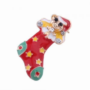 2pcs Fashion Design Christmas Socks Gloves Brooch with Rhinestones Charm Jewelry -
