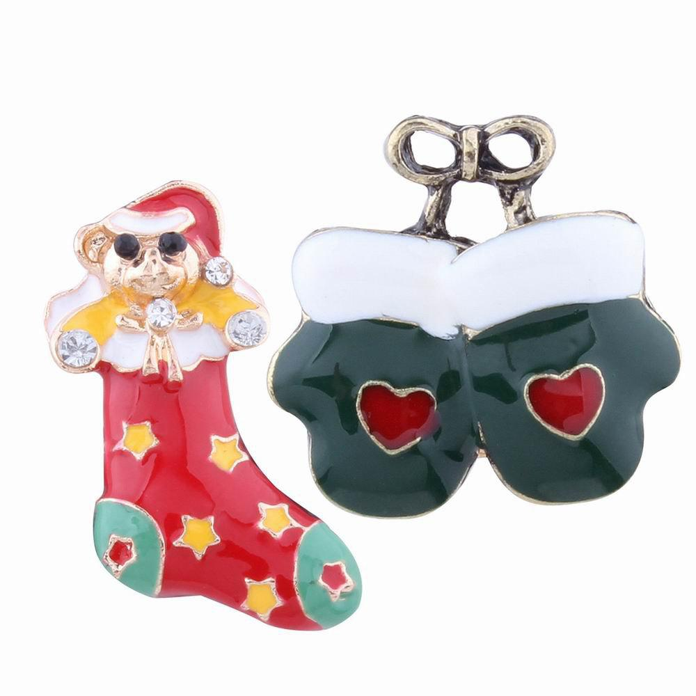 Best 2pcs Fashion Design Christmas Socks Gloves Brooch with Rhinestones Charm Jewelry