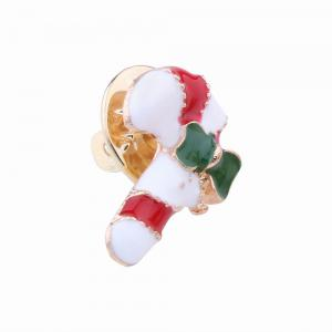 3pcs Fashion Design Christmas Element Santa Claus Walking Stick Bell Brooch -