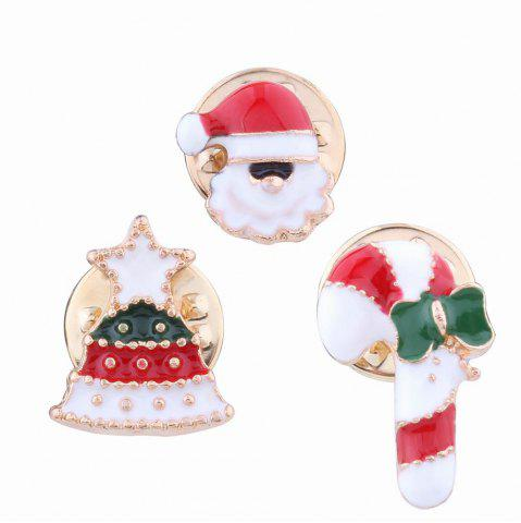 New 3pcs Fashion Design Christmas Element Santa Claus Walking Stick Bell Brooch