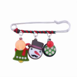 Fashion Design Christmas Snowman Bell Cartoon Funny Alloy Brooch Pin -