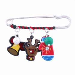 Fashion Design Christmas Lovely Deer Gloves Cartoon Funny Pin Brooch Charm Jewelry -