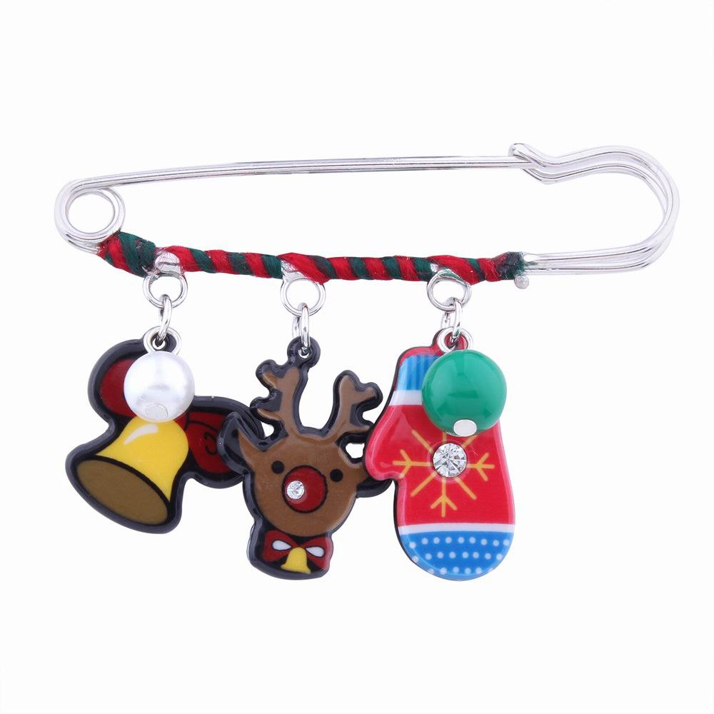 Cheap Fashion Design Christmas Lovely Deer Gloves Cartoon Funny Pin Brooch Charm Jewelry