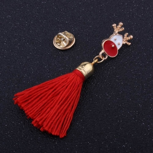 Fashion Design Christmas Deer Long Tassels Brooch Charm Accessories -