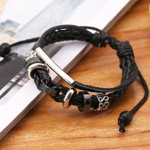 Vintage Weave Cowhide Bracelet Leather Hand Chain Accessories Jewelry -