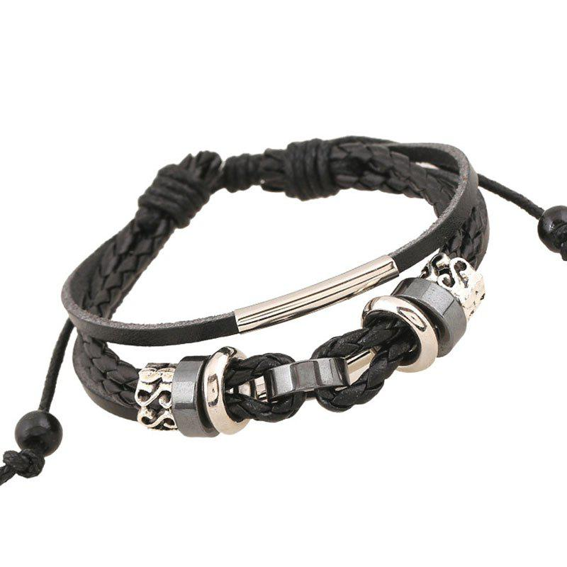 Fashion Vintage Weave Cowhide Bracelet Leather Hand Chain Accessories Jewelry