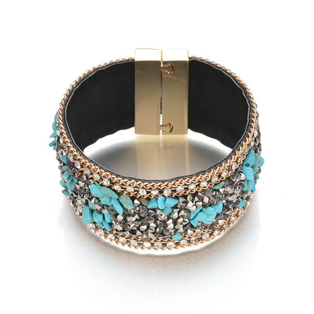 Affordable Simple Vintage Rhinestone Crystal Magnetic Snap Wide Bracelets for Women