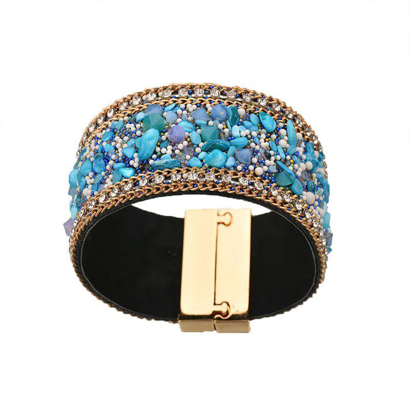 New Simple Vintage Rhinestone Crystal Magnetic Snap Wide Bracelets for Women