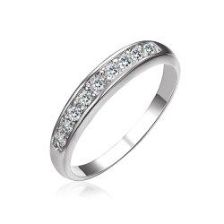 Sterling Silver Diamond Women Band Ring -