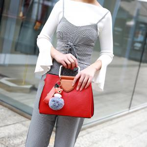 Winter Women PU Plush Cartoon Decoration Casual Tote Shoulder Bag -