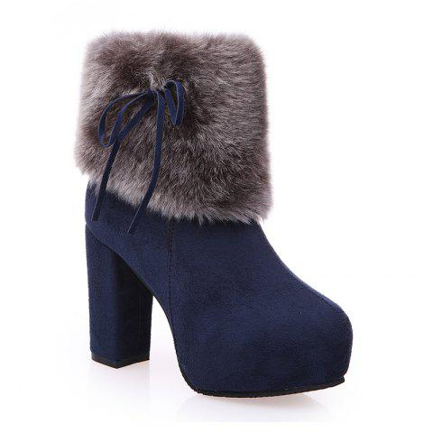 Hot 2017 New Autumn and Winter in The Warm and Thick Heeled Barrel Cashmere Boots