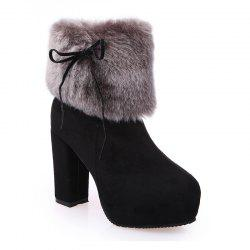2017 New Autumn and Winter in The Warm and Thick Heeled Barrel Cashmere Boots -