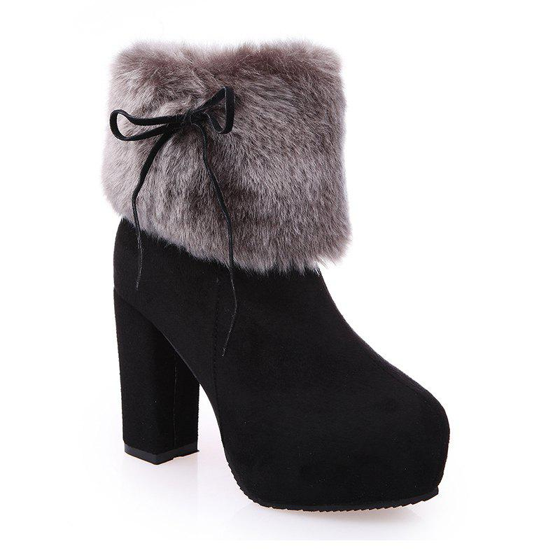 Affordable 2017 New Autumn and Winter in The Warm and Thick Heeled Barrel Cashmere Boots