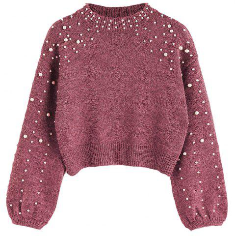 Buy New Lady's Short Pearl Decorative Knitted Sweater