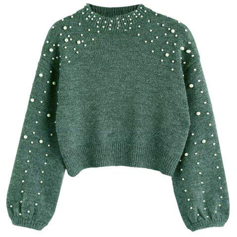 Outfit New Lady's Short Pearl Decorative Knitted Sweater