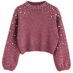 New Lady's Short Pearl Decorative Knitted Sweater -