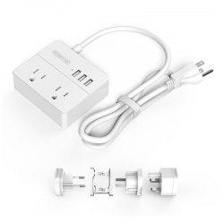 NTONPOWER OSP - 2A3U - KIT - WH Global Travel Smart Power Strip USB Power Strip With Adapter -