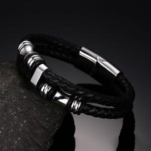 2017 New Fashion Accessories Bracelet Delicate Men's Braided Leather Cord -