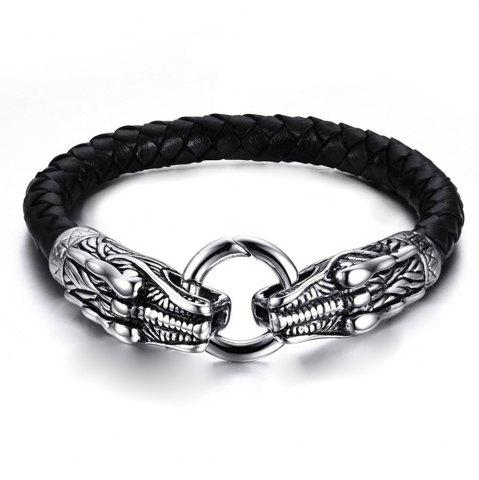 Chic Leather Braided Steel SsangYong Play Bead Men's Fashion Titanium Steel Bracelet