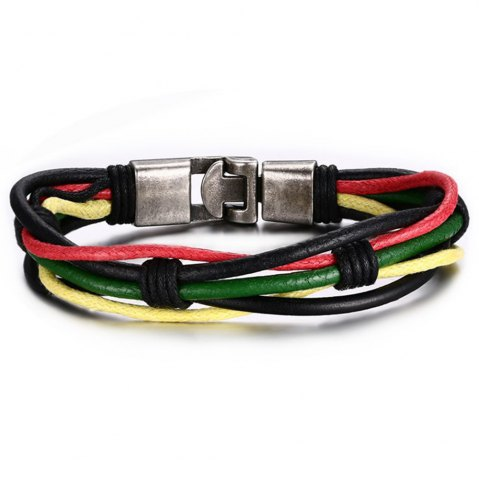 Cheap Men's Fashion Accessories Colorful Leather Rope Bracelet