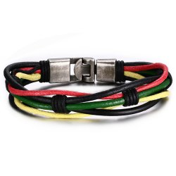 Men's Fashion Accessories Colorful Leather Rope Bracelet -