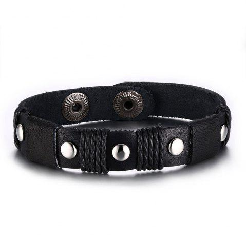 Outfits Punk Leather Sihetun Men's Black Trend Bracelet