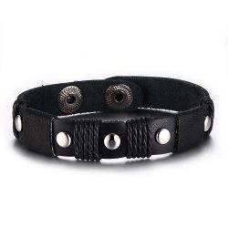 Punk Leather Sihetun Men's Black Trend Bracelet -