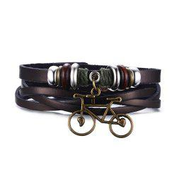 Leather Alloy Bicycle Love Wheel Pattern Knitted Men's Bracelet -