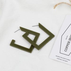 Big Names Simple Jewelry Geometric Acrylic Square Exaggerated Street Beat Resin Earrings -