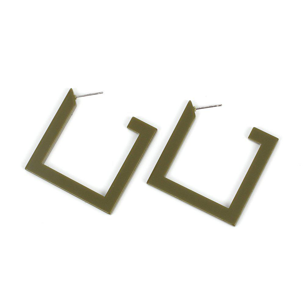Store Big Names Simple Jewelry Geometric Acrylic Square Exaggerated Street Beat Resin Earrings