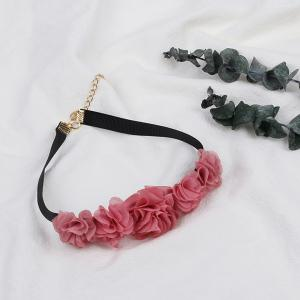 Lace Pink Rose Flower Necklace Short Clavicle Chain Jewelry Choker -
