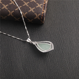 JAMOUR S925 Silver Droplet Jade Pendant Wild Simple Jewelry Necklace -