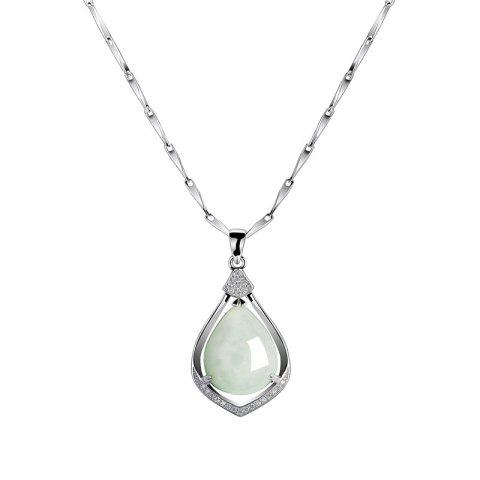 Best JAMOUR S925 Silver Droplet Jade Pendant Wild Simple Jewelry Necklace