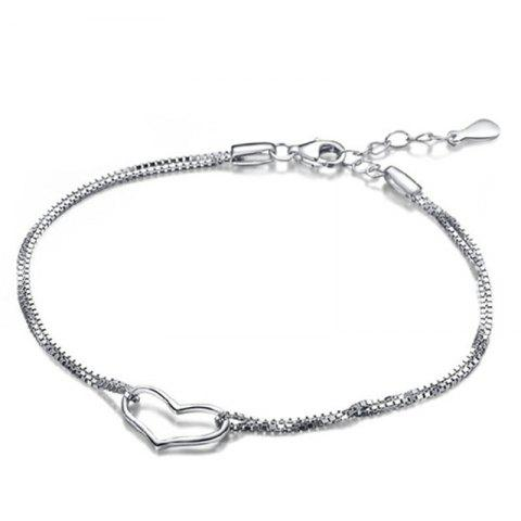 Online JAMOUR S925 Silver Heart Bracelet Women's Fashion Simple Jewelry