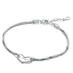JAMOUR S925 Silver Heart Bracelet Women's Fashion Simple Jewelry -