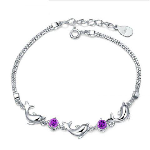Fancy JAMOUR S925 Silver Fashion Dolphin Bracelet Zircon Simple Personality Trend Anti Allergy Fade Jewelry