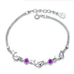 JAMOUR S925 Silver Fashion Dolphin Bracelet Zircon Simple Personality Trend Anti Allergy Fade Jewelry -