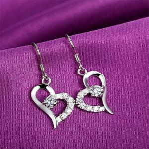 JAMOUR S925 Silver Heart Earrings Love Zirconium Fashion Wild Female Jewelry -