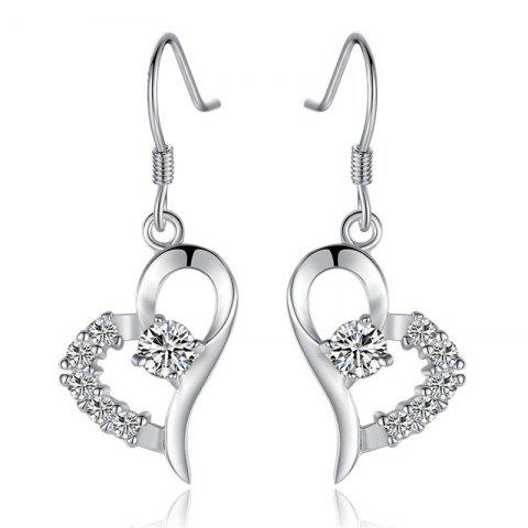 Shops JAMOUR S925 Silver Heart Earrings Love Zirconium Fashion Wild Female Jewelry