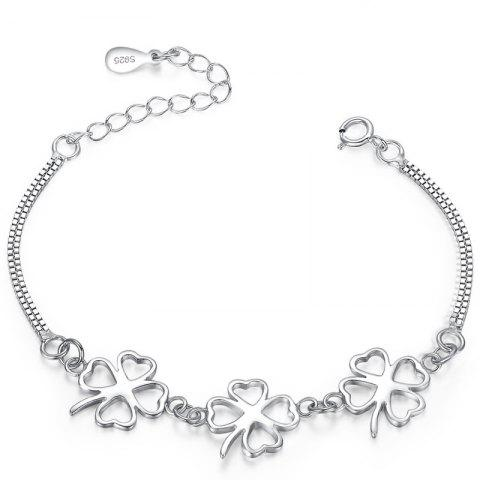 Best JAMOUR S925 Clover Simple Fashion Personality Wild Platinum Bracelet