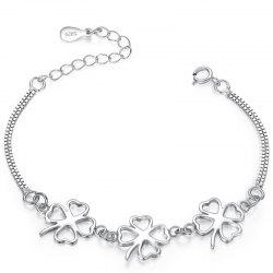 JAMOUR S925 Clover Simple Fashion Personality Wild Platinum Bracelet -