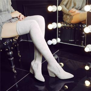 A Rough Heels Elastic Thin Thigh Boots -