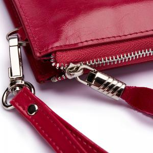 HAUT TON Women Wallet Genuine Leather Zip Clutch Checkbook Purse with Wrist Strap -