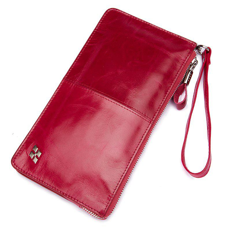 Fashion HAUT TON Women Wallet Genuine Leather Zip Clutch Checkbook Purse with Wrist Strap